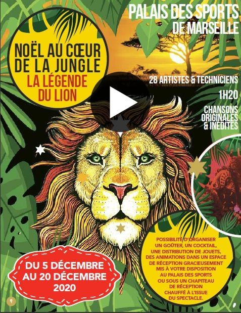 ARBRE DE NOEL MUTUALISE AU PALAIS DES SPORTS DE MARSEILLE – LA LÉGENDE DU LION